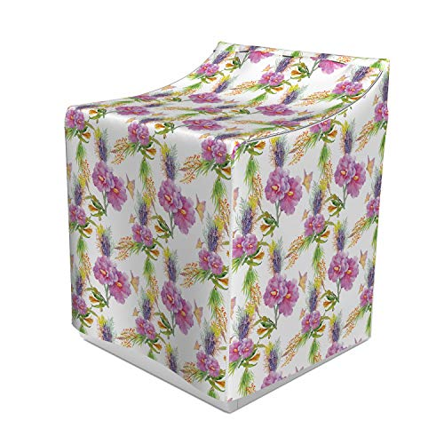 """Lunarable Floral Washer Cover, Watercolor Illustration of Romantic Flower Bouquet of Lilac Lavenders and Peonies, Suitable for Dryer and Washing Machine, 29"""" x 28"""" x 40"""", Purple Green"""