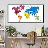 KWzEQ Cartel nórdico Acuarela Mapa del Mundo Lienzo Imagen para Sala de Estar decoración del hogar Arte Abstracto de la Pared,Pintura sin Marco,60X120cm