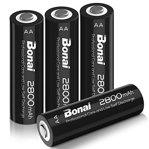BONAI Akku AA 2800mAh Wiederaufladbare Batterien hohe Kapazität 1,2V AA NI-MH Aufladbare Akkubatterien geringe Selbstentladung (4 Stück)