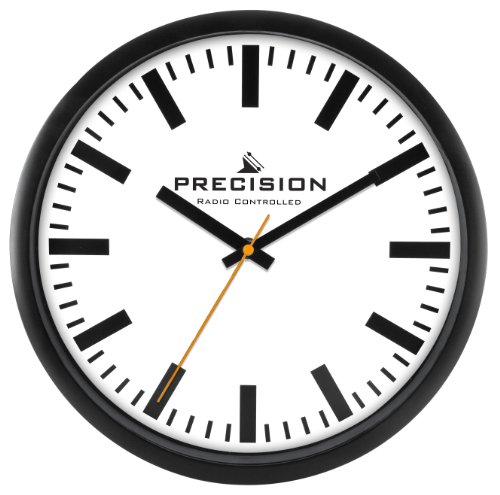 Precision Radiogestuurde wandklok, zwart/wit