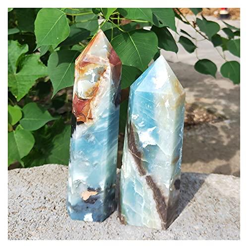 YSDSPTG Piedra de Cristal 240-700G Natural Caribe Calcita Cristal Cristal Wand Puntos Azul CALCITACIÓN CALETZ Torre Torre Puntos Puntos DE Pistas DE Pieza (Size : 600-700g)