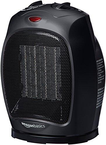 AmazonBasics - Termoventilatore Oscillante In Ceramica Da 1500 Watt Con Termostato Regolabile - Nero