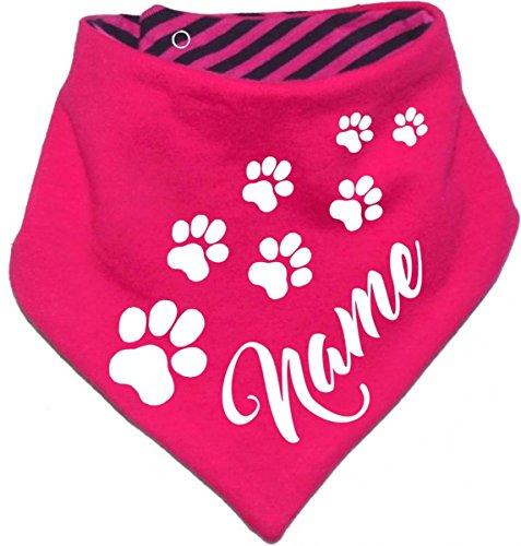 KLEINER FRATZ gestreiftes Hunde Wende- Halstuch (Fb: pink-Navy) (Gr.5 - HU 52-60 cm) mit Ihrem Wunschtext