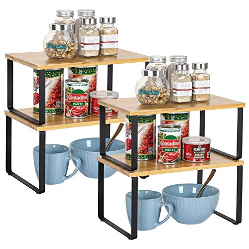 NEX Bamboo Kitchen Cabinet and Counter Shelf Organizer, Stackable & Expandable, Set of 4, Black and Natural