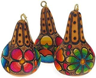 Sanyork Decorative Floral Mate Gourd Hanging Holiday Ornament Assorted Neon Party Set of 6 Pack Lot Fair Trade