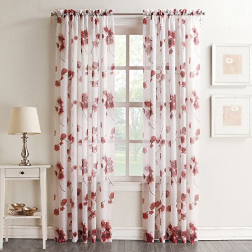"No. 918 Kiki Floral Print Crushed Sheer Voile Rod Pocket Curtain Panel, 51"" x 84"", Coral"