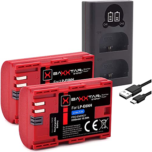 Baxxtar (2X) Pro LP-E6NH (2250mAh) kompatibel mit Canon R5 R6 usw. - Mini 18602 LCD DUAL (Eingang USB-C und MicroUSB)