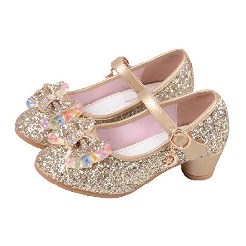 O&N Prinzessin Gelee Partei Absatz-Schuhe Sandalette Stöckelschuhe für Kinder(Size 36 EU) Golden