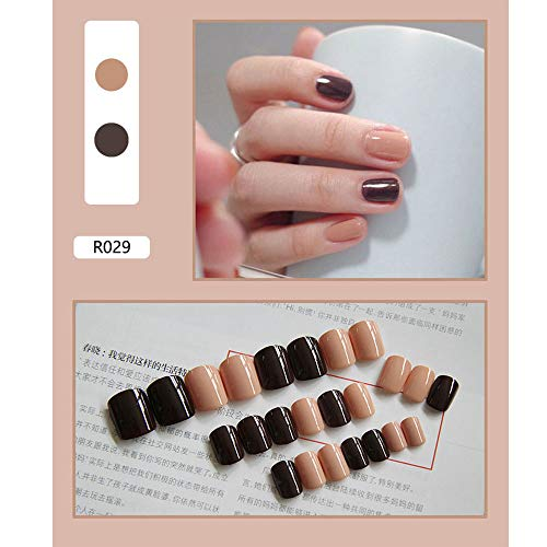 24 Pieces False Nails Artificial Fake Short Fingernails Nail Tips Kit 12 Sizes in 1 Boxes Full Cover (include glue)-Nude coffee