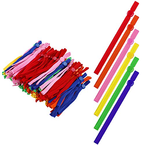 URATOT 200 Pieces Elastic Cord Bands with Adjustable Buttons Sewing Elastic Band Straps Stretchy Sewing Anti-Slip Earmuff Rope for DIY Craft Making Supplies