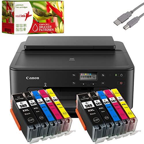Canon PIXMA TS705 Tintenstrahldrucker schwarz + USB Kabel & 10 komp. realink Druckerpatronen (Drucken per USB oder WLAN) - Originalpatronen ausdrücklich Nicht im Lieferumfang!