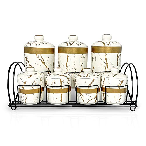 MK Crew 7 Piece Ceramic Canister Jar Set with a Stand and Airtight Lids White Marble and Gold Design Kitchen Food Storage Jars