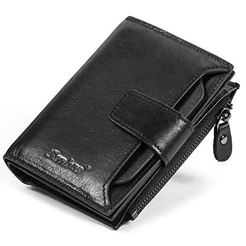 Da Uomo/'S REAL Genuine Leather Wallet RFID Blocco Coin titolare della carta di credito Bifold