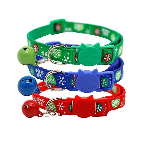 FIYRA Collar para perro con diseño de copos de nieve navideños para invierno, 3 unidades, retráctil, 7.5 a 12.5 pulgadas (verde, azul, rojo)