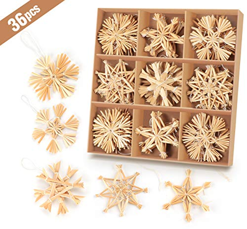 Anstore 36-teiliges Strohsterne Set, Ø 6 cm, Strohsterne Baumschmuck Weihnachtsdekoration