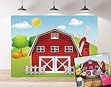 Botong Cartoon Farm Photography Backdrop Red Barn Windmill Animals Barnyard House Kids Birthday Background Baby Shower Newborn Photocall 5x3ft