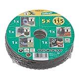 Wolfcraft 1663000 conjunto básico para amoladora de ángulo, 5 pzas. PACK 1, diámetro 115 mm, verde