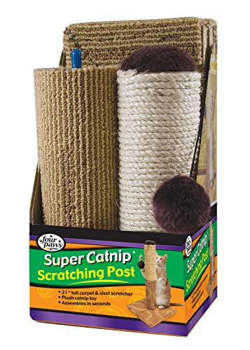 "Four Paws Super Catnip Cat Scratching Post, 21"" Tall Sisal and Carpet Scratching Post"