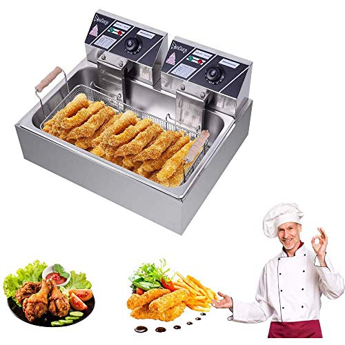Professional Electric Deep Fryer, Countertop Kitchen Frying Machine, Stainless Steel French Fryer with Basket & Lid for Commercial Restaurant Countertop Family Food Cooking (Single Tank 12L)