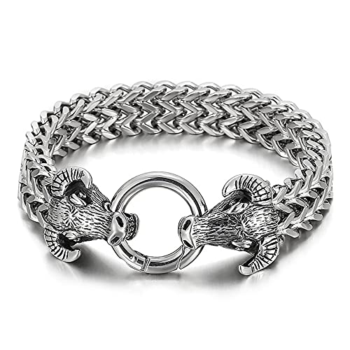 Pulsera de motociclista con cadena de bordillo de cabeza de lobo gótico vintage de acero inoxidable para hombre, brazalete de amuleto de animal de mitología nórdica, joyería pagana medieval escandinav