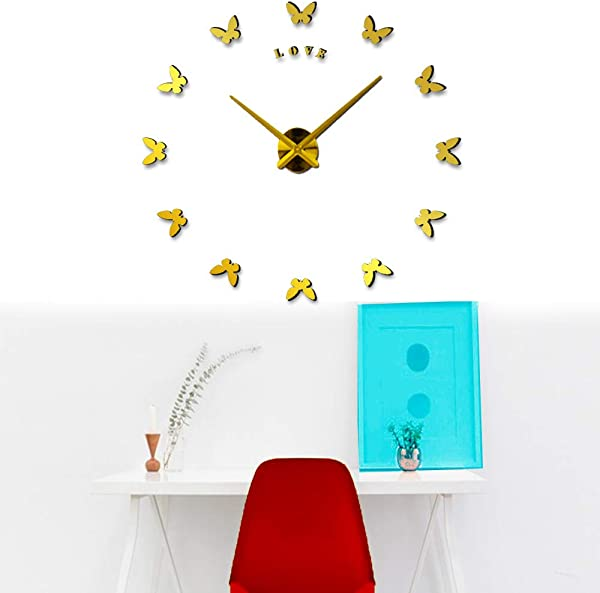 Butterfly Wall Clock Modern DIY Frameless Wall Clock DIY Modern Wall Clock Black Silent Non Ticking Adhesive Wall Clock Gold