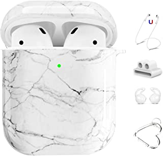 Maxjoy AirPods Case Cover, 5 in 1 Cute Marble Protective Cover Hard Case Kits with Keychain/Strap/Earhooks/Watch Band Holder Compatible with Apple AirPods Charging Case 2&1 for Girls Women Men,White