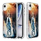 nadoli cover transparent per iphone xr 6.1,creativo gatto tigre carta e difficile pc + morbido tpu 3 strato chiaro antiurto antigraffio protettivo custodia