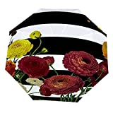 Paraguas anti-UV para sol/lluvia,Flor de la flor roja retro de la raya blanca negra Paraguas de viaje a prueba de viento: compacto, automático.
