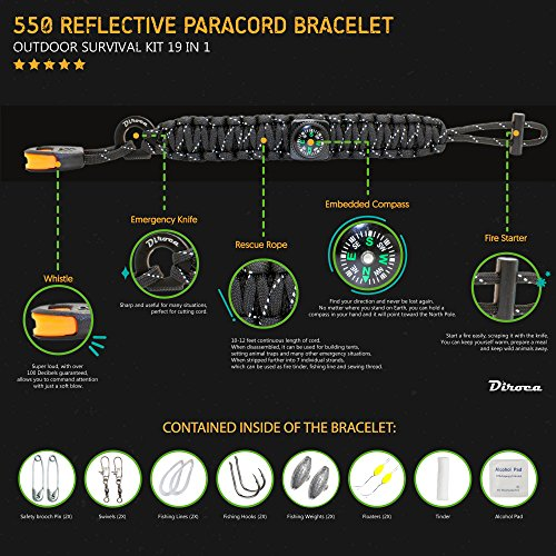 Product Image 1: Paracord Bracelet Survival Gear | 550 Premium Black Reflective Parachute | First Aid Kit 19 in 1 Compass, Fire Starter, Knife, Whistle, Rescue Rope & Fishing Tools – Outdoor Hiking Camping Hunting