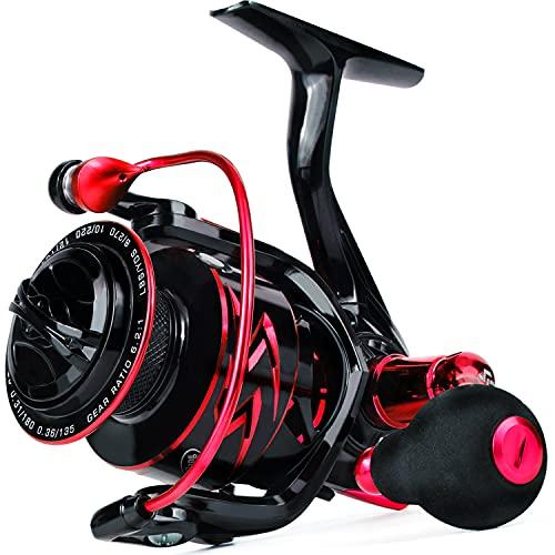 Sougayilang Carretes giratorios, carrete de pesca suave ultra ligero, 6.2: 1 relación de engranajes de alta velocidad, 12 + 1 BB, agua dulce y agua salada carretes de pesca Spinning R30