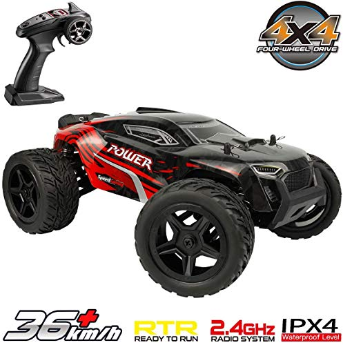 All Terrain Waterproof Rc Cars 1:14 4WD Monster Truck, High Speed 36+ kmh 2.4Ghz Electric Remote Control Car, Off-Road RC Buggy RC Toys Trucks for Kids and Adults(Red) Best Gift