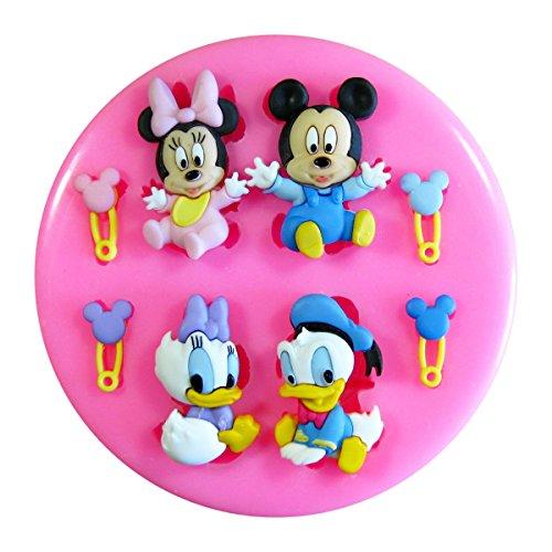 Mickey Mouse del bebé, ratón de Minnie, pato de Donald y pato de la margarita Molde de silicona para la torta de Decoración Pastel de Cupcake Toppers Glaseado Sugarcraft Tool por Fairie Blessings