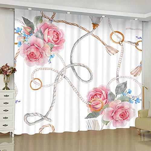 cortinas rosas lino