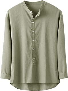 Men's Cotton and Linen Button Top Summer Short Sleeve Casual Blouse Fashion Loose Comfortable Sport Shirt