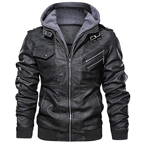 Pandaie Leather Jacket for Men Faux Fur Vintage Distressed Hooded Bomber Biker Motorcycle Jacket Coat (Black, L)