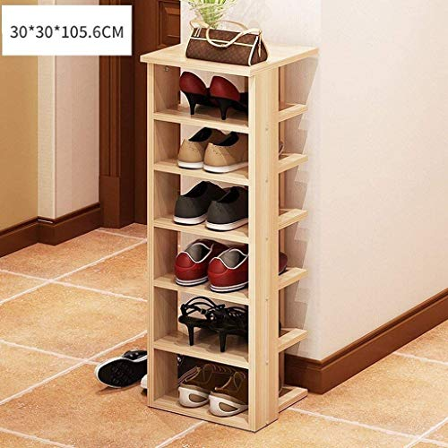 Zapatero de madera de múltiples capas de ahorro de espacio para almacenamiento de zapatos de madera para hombre para dormitorio, pasillo, ahorro de espacio zapatero, 30*30*105.6CM