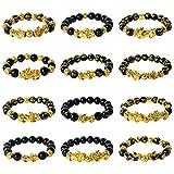 NEWITIN 12 Pieces Feng Shui Bracelets Lucky Charm Bracelet Lucky Charm Amulet...