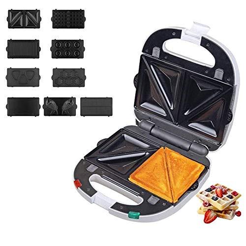 DWLXSH Sandwich- & Paninitoaster,Amerikanische Waffeleisen Eisen-Maschine mit 9 Sets von Backblechen Edelstahl-Form Antihaft-Beschichtung, for Rösti, oder bei einem Frühstück, Mittagessen, Snacks