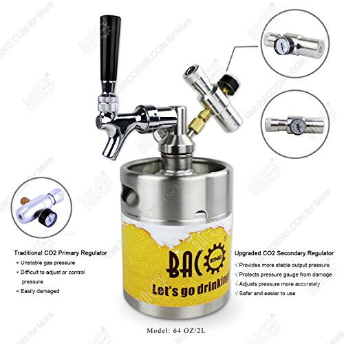 BACOENG 64 Ounce Pressurized Keg Growler, Kegerator for Home Brew Beer with Updated CO2 Regulator