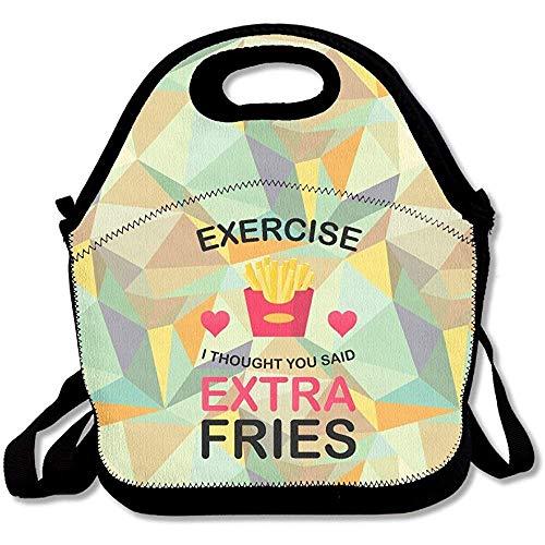 Exercise I Thought You Said Extra Fries Damen Große & dicke Neopren-Lunch-Taschen, isolierte Lunch-Tasche, Kühltasche, warm, mit Schultergurt, für Damen, Teenager, Mädchen, Kinder, Erwachsene