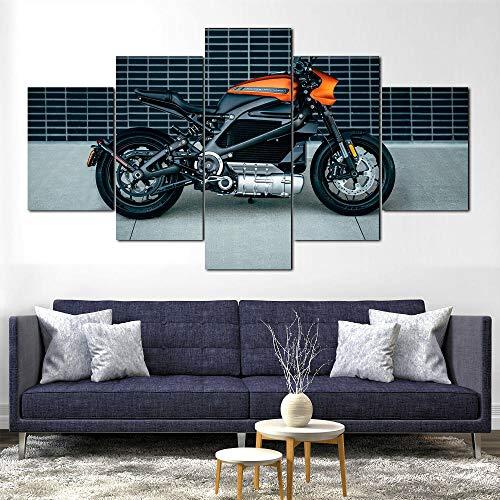 AWER 5 piezas de lienzo de arte de pared Motocicleta eléctrica LiveWire Imágenes Póster Impresión En Hd Estilo Abstracto Cuadro decoración Estilo Piasaje Regalo marco de madera 5 Piezas