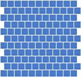 Susan Jablon Mosaics - 1 Inch Periwinkle Blue Frosted Glass Tile Reset In Offset Layout