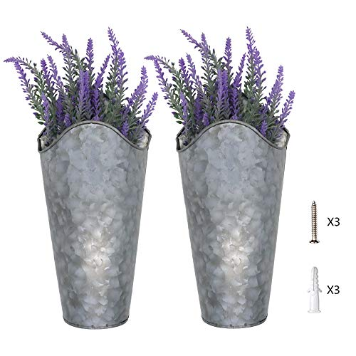 Luhiew 2 Pack Galvanized Metal Wall Planter with Artificial Lavender Bundle ,Farmhouse Style Hanging Wall Flower Holder Home Decor for Living Room Kitchen Bedroom Apartment Office