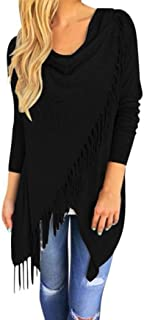iOPQO Sweater for Women, Long Sleeve Tassel Cardigan Shirt