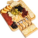 Bamboo Cheese Board and Knife Set  Charcuterie Boards with Cutlery Set - 4 Stainless Steel Knives in Slide-Out Drawer  Great Gift Idea for Wine and Cheese Lovers