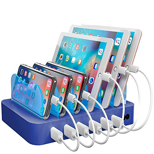Hercules Tuff Charging Station for Multiple Devices - 6 Short Mixed Cables Included for Cell Phones, Smart Phones, Tablets, and Other Electronics - Multi Charger Organizer Docking Station