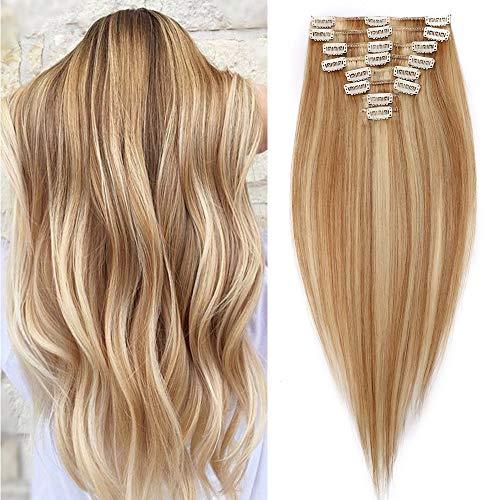 Silk-co Extension Capelli Veri Clip 8 Fasce #18P613 Biondo Cenere Biondo Sbiancante Remy Human Hair 75g Capelli Umani Clip in Extension Capelli Lisci 25cm