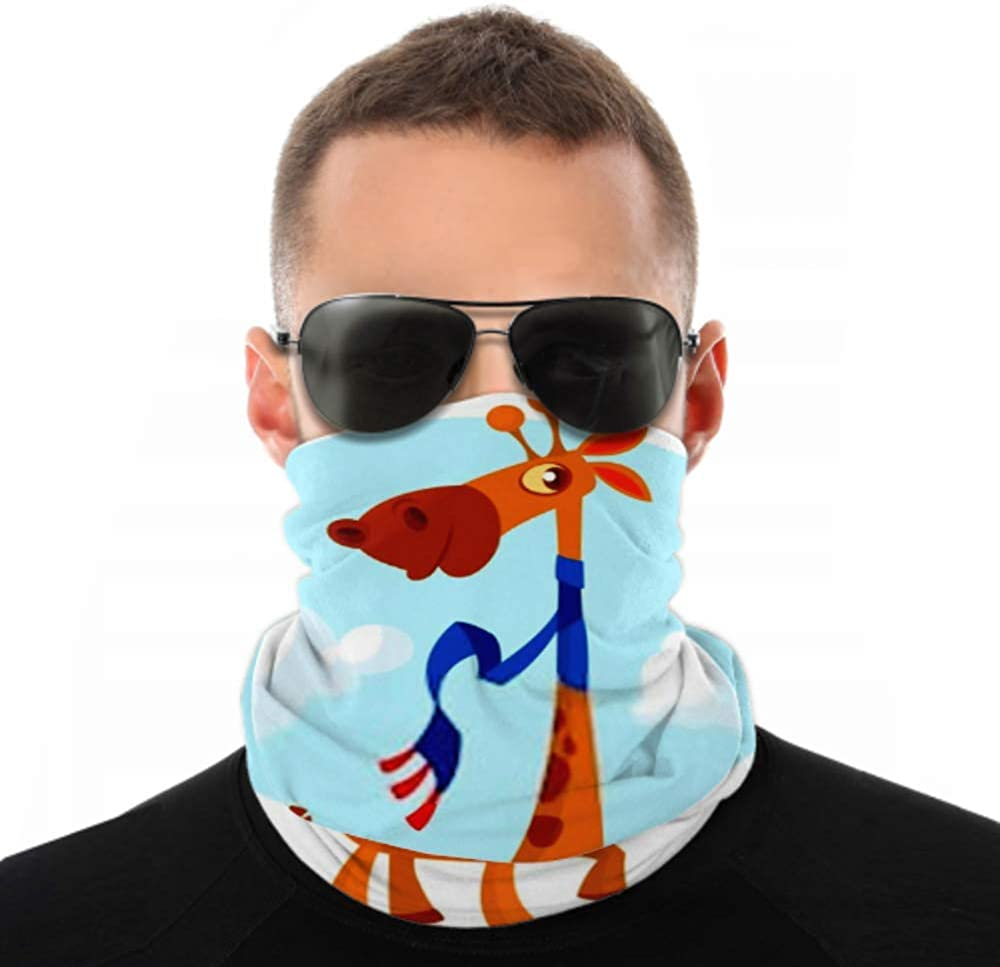 Headbands For Men Women Neck Gaiter, Face Mask, Headband, Scarf Cool Pretty Giraffe Cartoon Vector Illustration Turban Multi Scarf Double Sided Print Face Mask Reusable For Sport Outdoor
