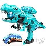 alpdolf 3-in-1 Transforming Dinosaur Gun, Shooting Toy Games Foam Blaster Gun with 30 Foam Darts, 1000 Water Beads and Lights & Sounds for Kids Boys/Girl