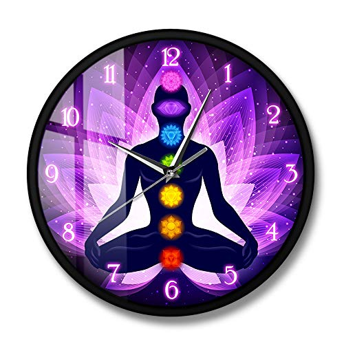 CDNY Meditating human being in lotus pose modern wall clock lotus background yoga illustration silent not beating wall clock 12 inches with frame